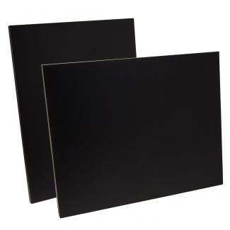 Placa de madera Negro Apoyo metalico varilla, serie 50120 (Frontal)