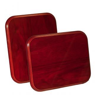 Placa de madera con forma Etimoe Caoba Apoyo metalico U, serie 50260 (Frontal)