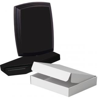 Cuña madera esquinas curvas negro con base, serie 70110A-20190 (Frontal)
