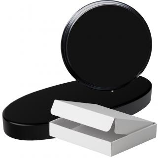 Cuña madera redonda negro con base, serie 70120A-10130 (Frontal)