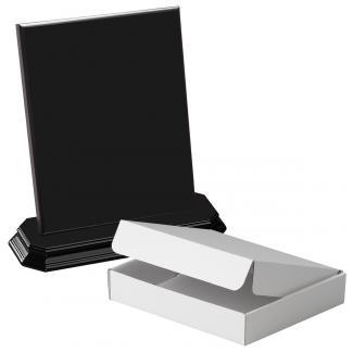 Cuña madera rectangular negro con base, serie 70140A-20180 (Frontal)