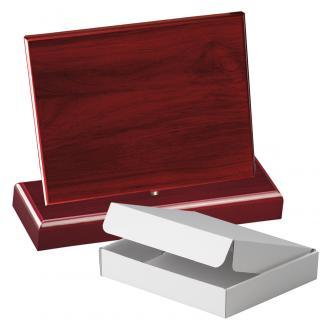 Cuña madera rectangular Caoba con base, serie 70240A-10210 (Frontal)