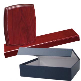 Cuña madera esquinas redondeadas etimoe caoba con base, serie 70270E-20300 (Frontal)
