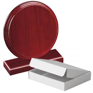 Cuña madera redonda etimoe caoba con base, serie 70280A-10210 (Frontal)