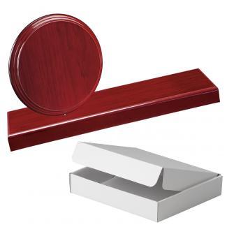 Cuña madera redonda etimoe caoba con base, serie 70280A-20300 (Frontal)