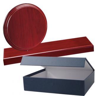 Cuña madera redonda etimoe caoba con base, serie 70280E-20300 (Frontal)
