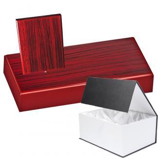 Cuña madera rectangular zebrano caoba con base, serie 70300G-10290 (Frontal)