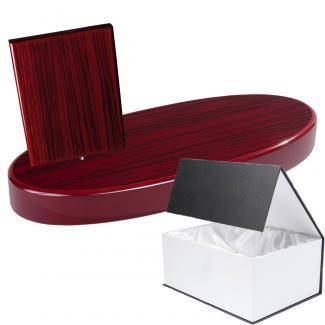 Cuña madera rectangular zebrano caoba con base, serie 70300G-10300 (Frontal)
