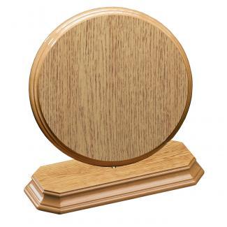 Cuña madera redonda roble natural con base, serie 70800-20800 (Frontal)