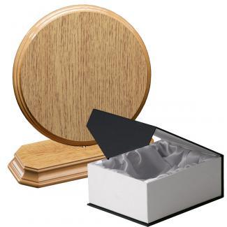 Cuña madera redonda roble natural con base, serie 70800C-20800 (Frontal)