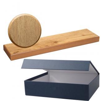 Cuña madera redonda roble natural con base, serie 70800E-20810 (Frontal)