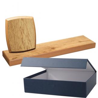 Cuña madera esquinas redondeada roble natural con base, serie 70810E-20810 (Frontal)