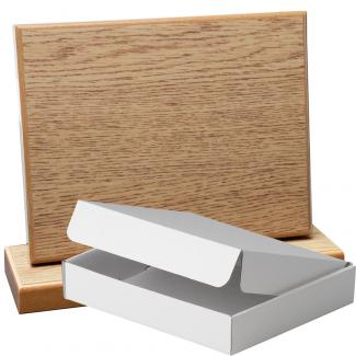 Cuña madera rectangular roble natural con base, serie 70830A-20810 (Frontal)