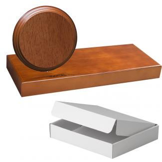 Cuña madera redonda roble avellana con base, serie 70860A-10830 (Frontal)