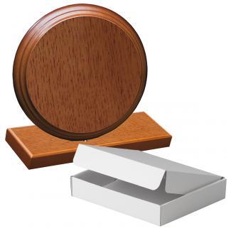 Cuña madera redonda roble avellana con base, serie 70860A-20820 (Frontal)