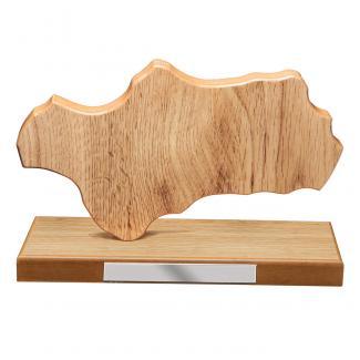 Mapa madera Andalucía roble natural con base (Frontal)