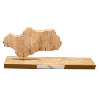 Mapa madera Andalucía roble natural con base alargada (Frontal)