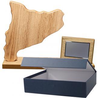 Mapa madera Cataluña roble natural con base alargada y placa (Frontal)