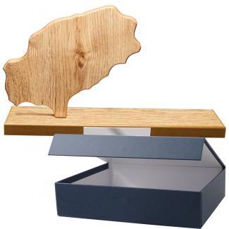 Mapa madera Ibiza roble natural con base alargada (Frontal)