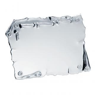 Placa aluminio pergamino acabado plata brillo, serie P010 (Frontal)