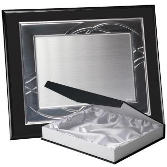 Kit placa de madera color negro mate, aluminio y estuche lujo, serie P180B-50100 (Frontal)