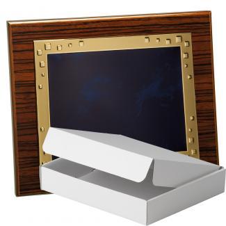Kit placa de madera color zebrano nogal, aluminio y estuche sencillo, serie P210A-50570 (Frontal)