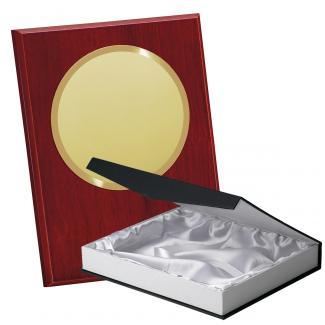 Kit placa de madera color etimoe caoba, aluminio y estuche lujo, serie P360B-50270 (Frontal)
