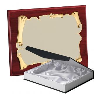 Kit placa de madera color etimoe caoba, aluminio y estuche lujo, serie P410B-50270 (Frontal)