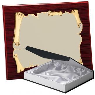 Kit placa de madera zebrano caoba, aluminio y estuche lujo, serie P410B-50350 (Frontal)